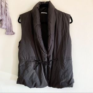 James Perse • puffer collared vest drawstring belt